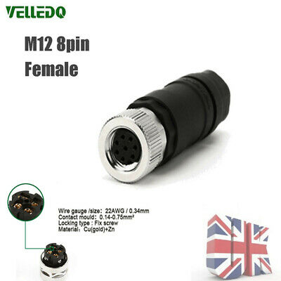 M12 Sensor Connector 8 Pin Female Straight Plug Adapter For Machanical Engineer