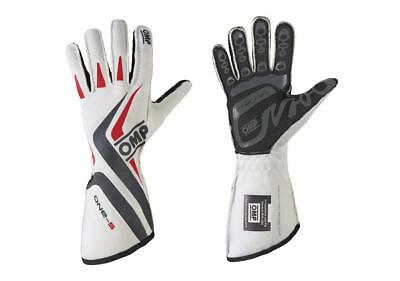 OMP One S Tg.XS IB/755E FIA RACING GLOVES Bianco Tg XS FIA 8856-2000 & SFI