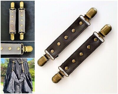 Skirt Hikes Hitch Antique Brass Studs Clips Faux Leather Steampunk Hikes Pair