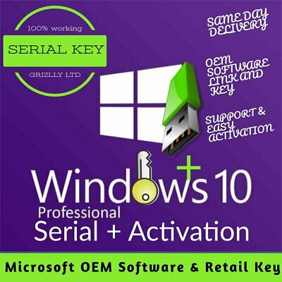 Windows 10 Pro 32 & 64 bit OEM Licence Easy update or new install