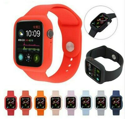 For Apple Watch Series 4 40mm-44mm Silicone iWatch Band Strap +Armor Case Cover
