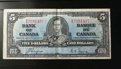 1937 Bank Of Canada  ($5.00 ) Five Dollar Banknote Coyne Towers