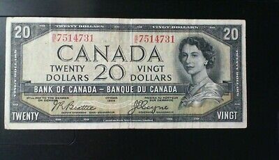 1954 Bank Of Canada Devil's Face $20.00 Banknote Beattie Coyne Devil's  Face