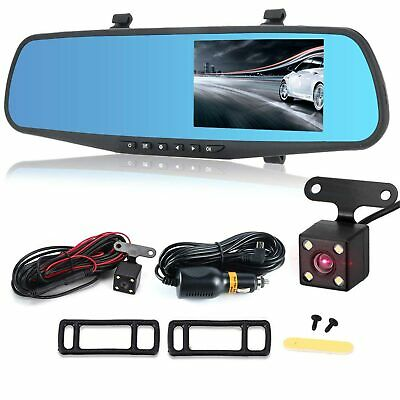 "1080P HD 4.3"" Car DVR Dual Lens Auto Dash Video Mirror Cam Record Rear Camera"