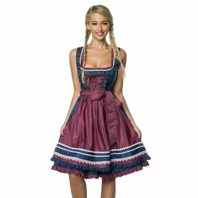 Dirndl Brocade Apron Ruffle Top of Dirndline in Blue Dark Red Size