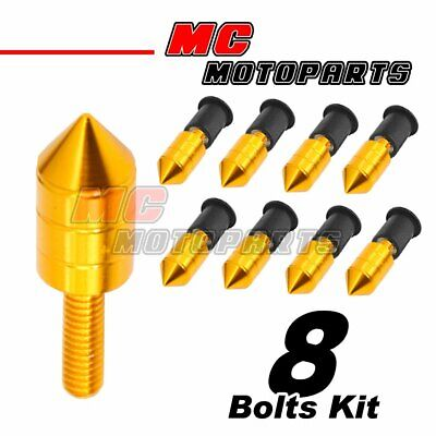 6 PC GREEN WINDSCREEN FENDER WASHER BOLT KIT W NEO CHROME SPIKES MOTORCYCLE M9