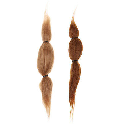2Pcs Pure Mohair Straight Hair Wigs for Reborn Doll Newborn Baby Making Accs
