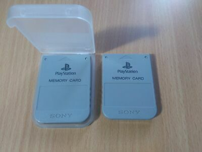 PS1 Sony PlayStation 1 - Official/Genuine Memory Card (Grey) x2 Set + Case PS1