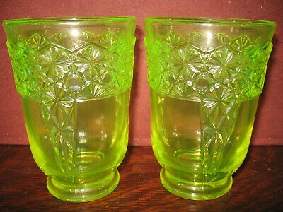 pair of Vaseline glass daisy and button tumblers cups goblets uranium yellow set