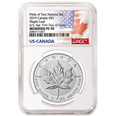 2019 Modified Proof $5 Silver Canadian Maple Leaf NGC PF70UC FDI Flags Label Pri