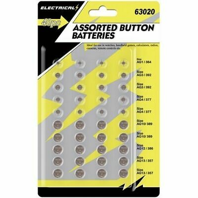 40 Assorted Button Cell Watch Batteries Toys Gadgets Battery AG1/3/4/10/12/13