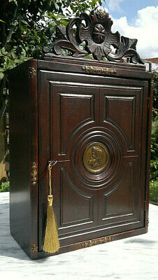 "Early 19thC Antique Neoclassical Style Wall Cabinet Cupboard ~Lock & Key~19""Tall"