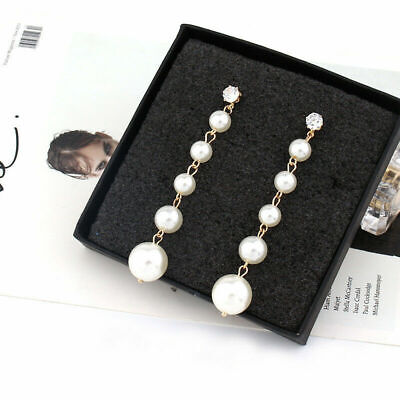 Long Pearl Stud Dangle Women's Drop Jewelry Elegant Big Crystal Earrings Tassel