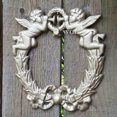 Holy Cherubs Angels Playing Trumpets Sculpture Hanging Metal Wall Wreath Plaque