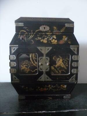 Antique Meiji Japanese Lacquer Tansu Hand Painted Birds Cabinet Jewellery Box