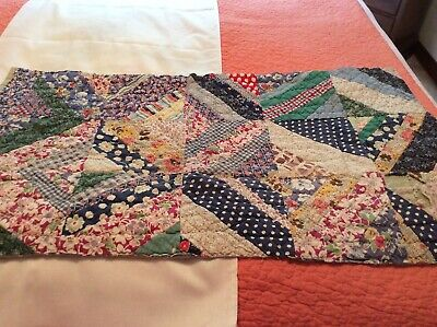 VtG Ant Old 1930-40s Crazy Quilt Cutter Piece ~ Crafts Upcycling ~ 34 x 20