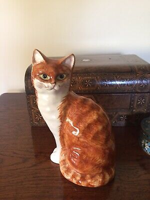 """Vintage Large Hand Painted Babbacombe Pottery Ginger And White Cat.  9"""" Tall."""