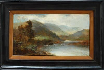 FINE 19th Century HIGHLAND CATTLE  in LANDSCAPE SIGNED Antique Oil Painting
