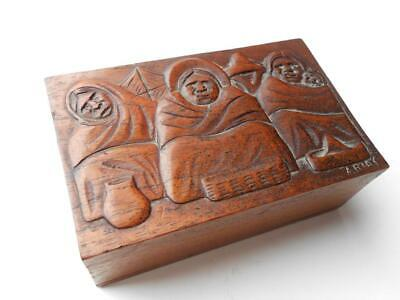Lovely Carved Antique Vintage Wooden Box With  People Eskimos Red Indians Etc