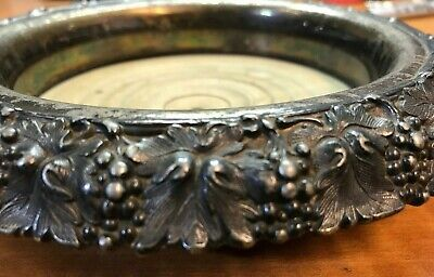 Antique Silverplated & Wood  Champagne Wine Coaster GRAPES