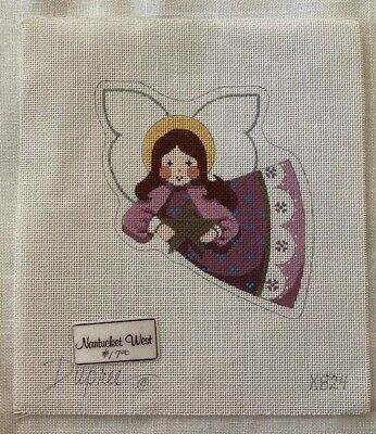 DUPREE Hand Painted Needlework Needlepoint Christmas Angel Holding A Star