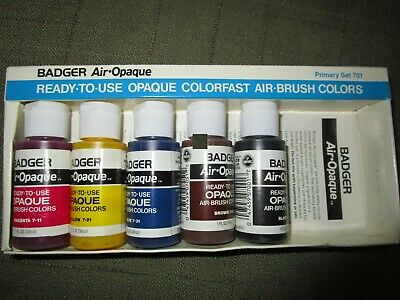 Badger Air-Opaque Airbrush Paints, 5 bottles from Primary set, Vintage New AS IS