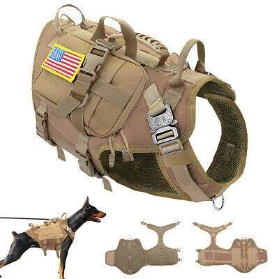 Tactical Dog Hunting Training K9 Molle Vest Harness with Pouch Bag Military M L