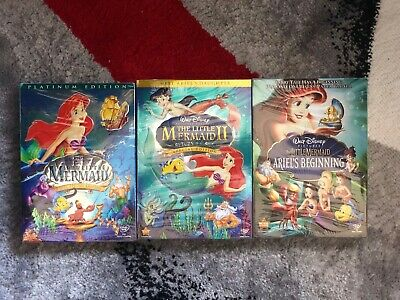 The Little Mermaid Trilogy 3 BRAND NEW DVDs Collection Ariel's Beginning