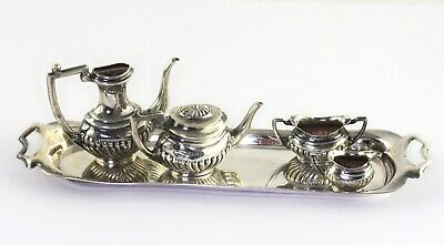 VTG British Sterling Silver Miniature Heart Doll Tea Set Hallmarked 1939 AS IS