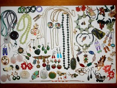 HUGE ANTIQUE VTG ASIAN CHINESE MIXED JEWELRY LOT JADE SILVER ENAMEL G.F. 72pc