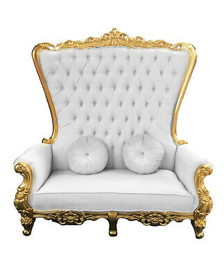 Excellent Double High Back Chair Queen Throne In White Leather Gold Gamerscity Chair Design For Home Gamerscityorg
