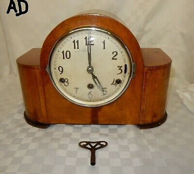Art Deco Westminster / Whittington Chiming Walnut Mantel Clock (AD)