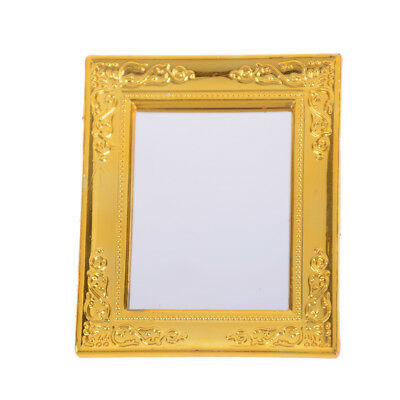 1:12 Dollhouse Golden Miniature Square Framed Mirror Dollhouse Accessory Toy、 JC