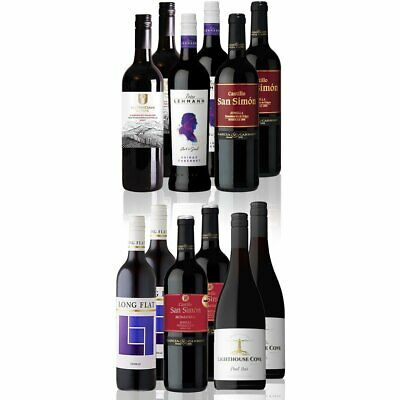 Premium Mixed Red Wine Featuring Barossa Valley NZ Italy Spain Wines (12x750ml)