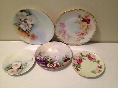 Lot Of 5 Limoges France Hand Painted Plates