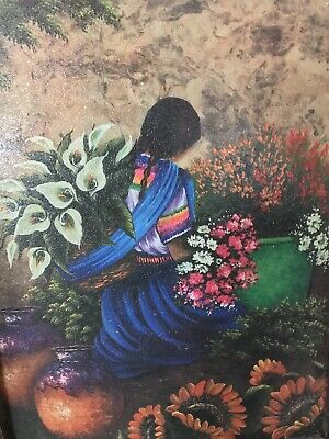 Vintage Framed Mexican Folk Wall Art Painting On Wood
