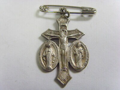 Antique catholic holy family silver crucifix pendant be with us on our way 50585