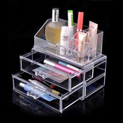 2 Drawers Clear Acrylic Cosmetic Organizer Makeup Case Jewelry Storage Holder