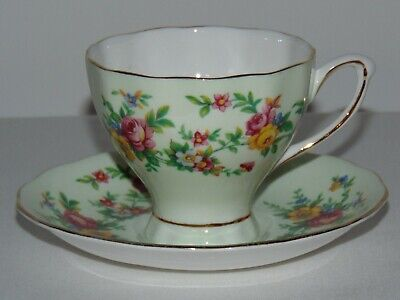 Vintage Bone China Teacup & Saucer Set Minty Green English Floral