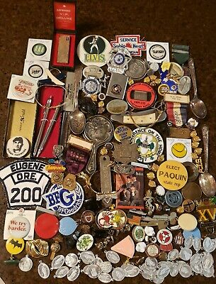 Huge 160+ Piece Lot Medals Military Fraternal Pins Badges Lighters Advertising +