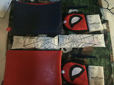 United Airlines Spider-Man Limited Edition Amenity BAGS/spider mask. Red & Blue