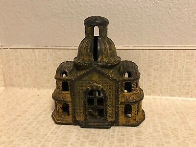 "All Original--Cast Iron Still Bank--Domed Mosque""  Yellow/Gold--Grey Iron Co."