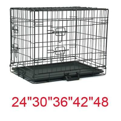 "24""-48"" Black Dog Cage Large Puppy Pet Training Carrier Folding Metal Crate Pan"
