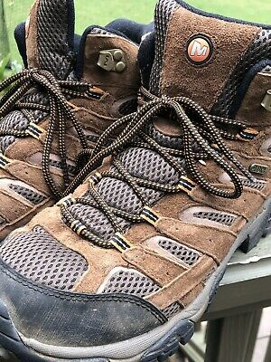 33cba8f8292e5 Merrell Mens Moab Mid Waterproof Hiking Boots Brown Vibram Earth Size 11