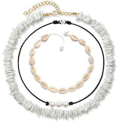 Women Adjustable Puka Pearl Shell Choker Necklace Bracelets Set Hawaiian Jewelry