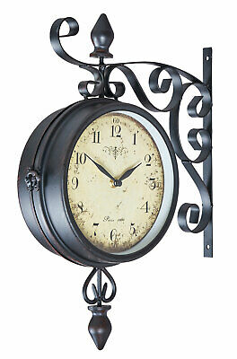 Wall Clock Metal Double-Sided Railway Station Retro Antique Style Country House