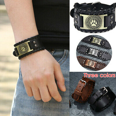 1Pc Viking Leather Bracelet Punk Nordic Compass  Wolf Head Leather Wristbands