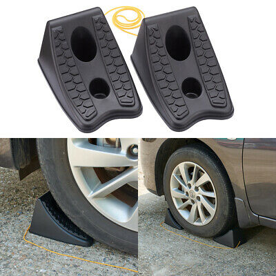 2x Safety Wheel Chocks Parking Stops Tough Plastic Car Trailer Boat Caravan