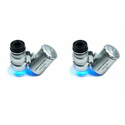 2-PACK 60X Magnifying Jewelers Loupe Jewelry Loop Eye Glass Coin Led Light