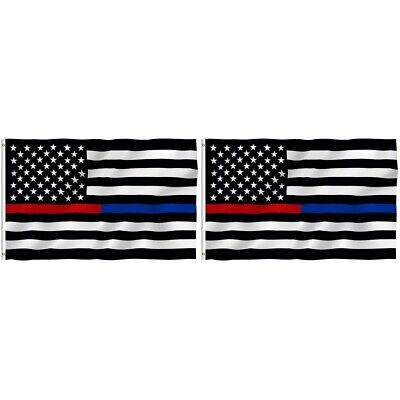 2-Pack Thin Blue Line American Flag 3x5 Police Firefighter Red Support Flag